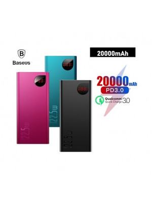 Baseus Adaman 20000mAh Power Bank 22.5W PD Fast Charger+Quick Charger 4.0 3.0 SCP Type C Powerbank External Battery