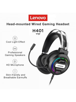 Lenovo H401 Gaming Headset 7.1 Stereo Surround Esports RGB Headphones with MIC