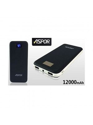 Aspor A386 Intelligent Output 12000mAh Power Bank - Black