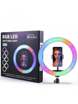 MJ33 RGB LED Soft Ring Light 20CM With Phone Holder