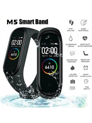 M5 Smart Band Bluetooth Sports Bracelet Fitness Band With Heart Rate Blood Pressure Monitor Fitness Tracker Waterproof Pedometer For Android & iOS, Black