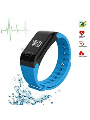 F1 Plus Color Screen Smart Wristband Blood Pressure Heart Rate Monitor Fitness Tracker - Blue