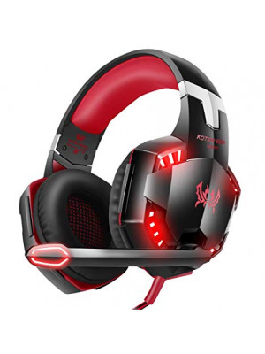 KOTION EACH G9000 3.5mm Gaming Headphones Stereo Earphone Headset with Mic LED Light for Laptop Tablet / PS4 Gamepad - Red