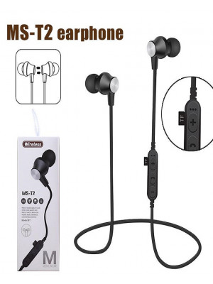 MS-T2 - Magnetic Bluetooth 4.2 Sport Earphone With Mic MP3 - Black