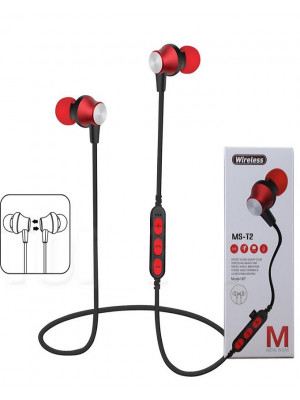 MS-T2 - Magnetic Bluetooth 4.2 Sport Earphone With Mic MP3 - Red