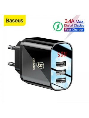Baseus 3.4A LED Display USB Phone Charger For IPhone Samsung Mobile Wall Charger 3 USB Ports Charger