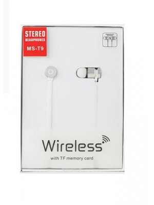 MS-T9 Bluetooth Magnetic Earphone with TF Card White