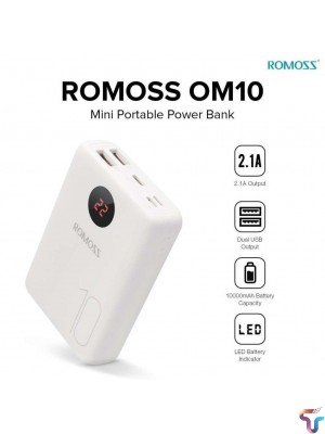Romoss OM10 10000mAh Mini Portable Charger Power Bank with 3 Input & Dual Output LED Display PowerBank
