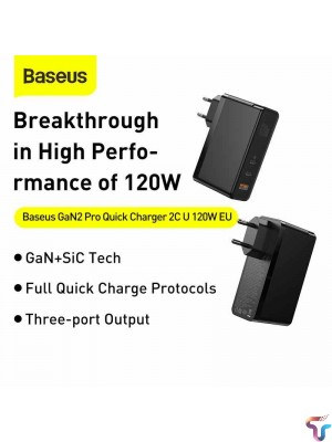 Baseus 120W GaN SiC Charger PD Type C Fast Charger Quick Charge 4.0 QC3.0 USB Charger Fast Charging