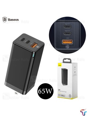 Baseus 65W GaN USB Type-C Fast Charger PD Wall Charger 3 Port Quick Charging Portable Travel USB Charger