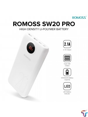 ROMOSS SW20 Pro 20000mAh Portable Power Bank PD 3.0 Fast Charging With LED Display