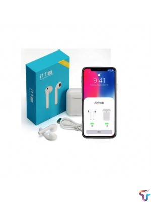 Twin True i11 Wireless Touch Sensor 5.0 Bluetooth Earbuds Airpods With Charging Case For iOS And Android - White
