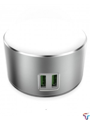 2 in 1 LED Touch Lamp With Dual USB Ports Charger - Silver
