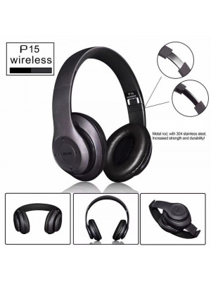 P15 - Wireless Bluetooth Over The Ear Super Bass Stereo Headphone - Black