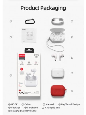 JOYROOM JR-T03S Pro Airpods Pro - ANC – 360mAh New Upgraded TWS Wireless Bilateral Bluetooth Earbuds