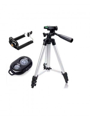 Aluminium DK 3888 Portable Foldable Camera Mobile Tripod With Bluetooth Wireless Remote Shutter - Silver