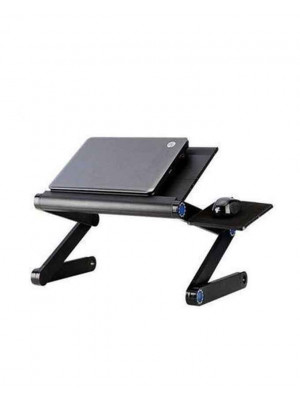 Aluminium Multi-Function Laptop Cooling Table With Fan - Black