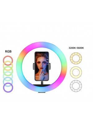 MJ33 RGB LED Soft Ring Light 26CM With Phone Holder