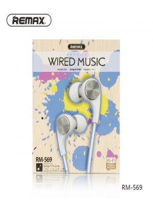 Remax RM-569 Earphone Wired Music Hi-Fi Audio - White