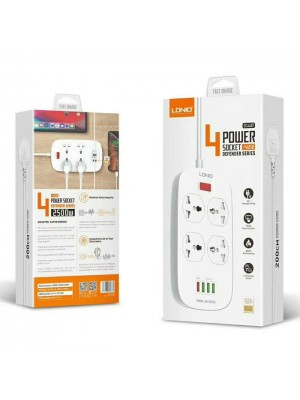 LDNIO SC4407 Power Strip With 4 Socket Outlets and 4 USB Port + Overload Protection QC 3.0 - White