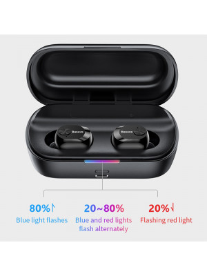 Baseus W01 TWS Bluetooth 5.0 True Wireless Earphone Headphone Mini Cordless Earbuds With Mic Headset