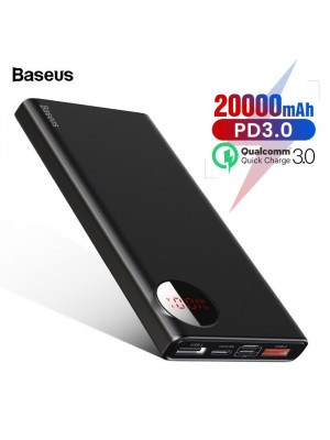 Baseus Mulight 20000mAh Power Bank USB PD Fast Charging Powerbank Quick Charge 3.0 External Battery