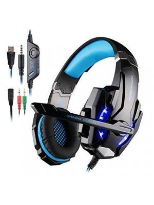 KOTION EACH G9000 3.5mm Gaming Headphones Stereo Earphone Headset with Mic LED Light for Laptop Tablet / PS4 Gamepad - Blue