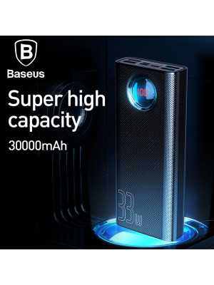 Baseus Amblight 30000mAh Power Bank Quick Charge 3.0 USB C PD Fast Charging Powerbank Portable External Battery Charger