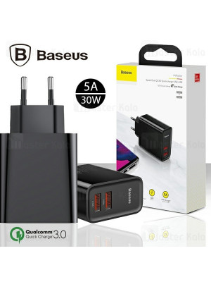 Baseus CCFS-E01 Speed ​​Dual 30W Mains Charger EU USB Quick Charge 3.0 QC3.0 Black Adapter
