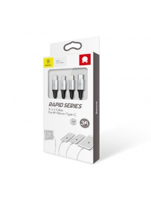 Baseus Type-C Rapid 3-In-1 Cable For Micro + Lightning + Type-C PD 20W 1.5m Black