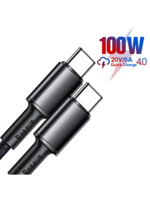 BASEUS CATGD-A01 Cabel USB Type-C To Type-C PD Power Delivery 100W Fast Charging 1M/2M-Black