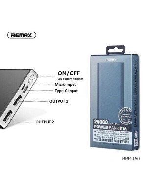 Remax RPP-150 Bodi Series Power Bank 20000mAh Capacity With Dual USB Output And Micro & Type-C Input Port