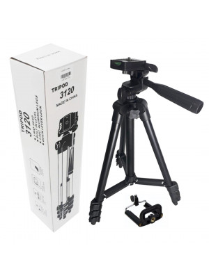 3120 Built In Level 3-Way Head & Aluminum Legs Tripod Stand - Black