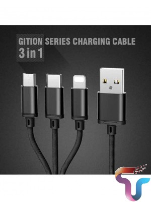 Remax 3in1 Cable RC-131th Gition Series For Micro USB,Type-C And Lightning - Black