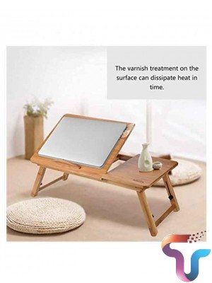 Suncool Portable Bamboo Laptop Wooden Table With Fan