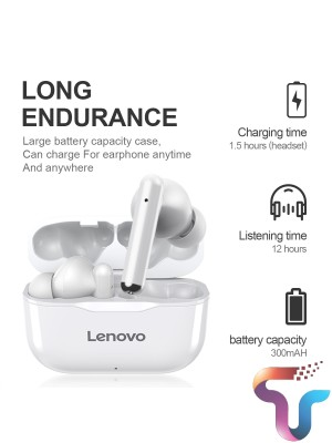 Lenovo LP1 LivePods Wireless Earphone Bluetooth 5.0 Dual Match Noise Reduction Stereo HIFI Bass Touch Control Long Standby 300mAH