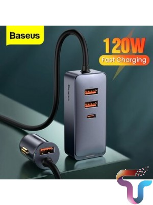 Baseus 120W 4-Port Car Charger PPS PD QC3.0 FCP AFC Fast Charging 1.5m Long Cable - 3 USB + 1 Type-C