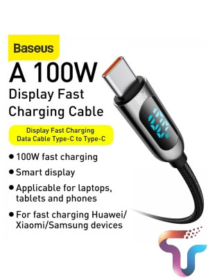 Baseus Digital Display Type C Fast Charging Data Cable 5A 2m