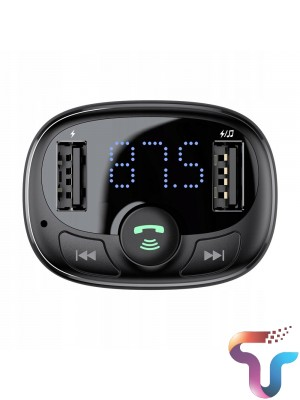 Baseus CCATM-01 Car Charger For Mobile Phone Handsfree FM Transmitter Bluetooth Car Kit LCD MP3 Player Dual USB Car Phone Charger
