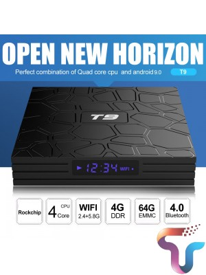 Android TV Box T9 Android 10 TV Box 4GB DDR3 RAM 64GB ROM RK3318 Bluetooth 4.2 Support 2.4G&5.0GHz WiFi 4K Set Top Box Smart TV