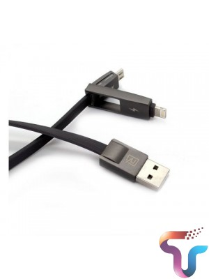 Remax RC-042t 2in1 Strive Data&Charging Cable For iPhone & Android - Black