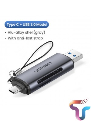 Ugreen 50706 USB C And USB A To TF SD Card Reader Gray CM184